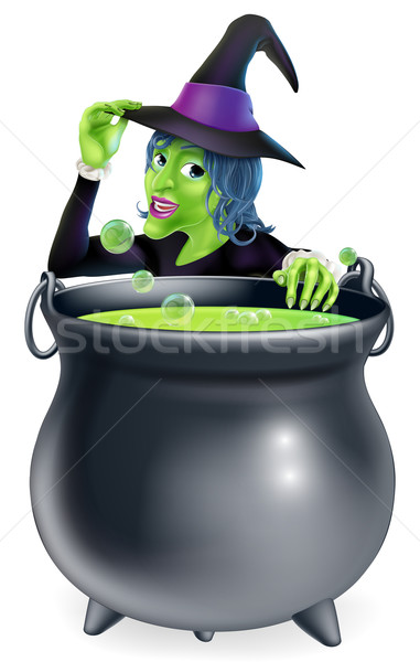 Halloween Witch and Cauldron Stock photo © Krisdog