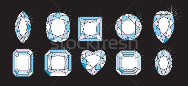 Gyémánt formák ékszer ékszerek vág hercegnő Stock fotó © Krisdog