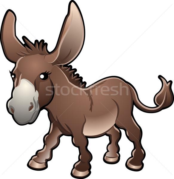 Foto stock: Bonitinho · burro · vetor · ilustração · sorrir · crianças