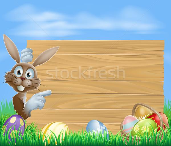 Mutat húsvéti nyuszi fa tábla nyúl felirat kosár Stock fotó © Krisdog