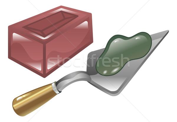 Brick mortar and trowel illustration Stock photo © Krisdog