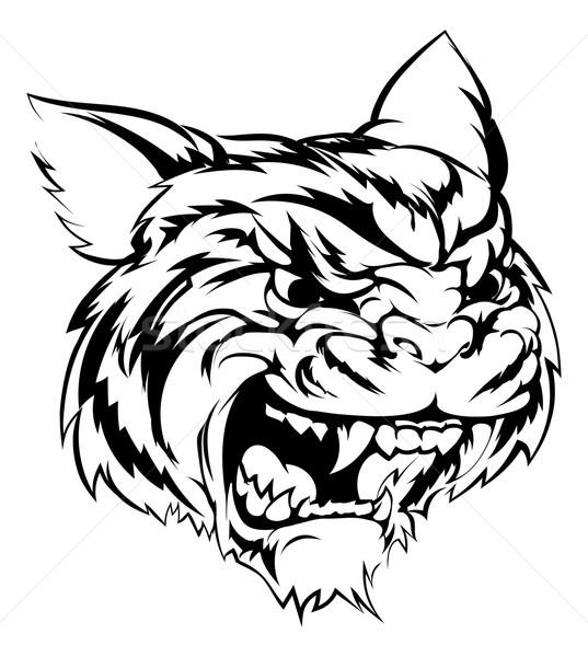 Stok fotoğraf: Kaplan · maskot · karakter · siyah · beyaz · örnek