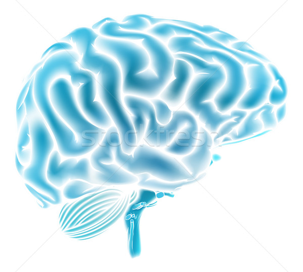 Glowing blue brain concept Stock photo © Krisdog