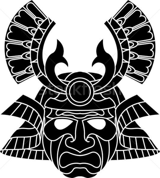 Monocromático samurai máscara ilustração laranja vermelho Foto stock © Krisdog