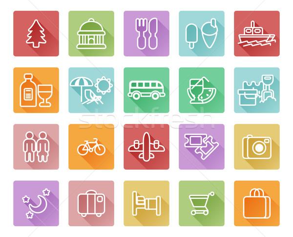 Travel and tourism icons Stock photo © Krisdog