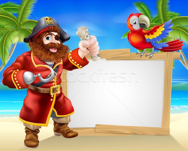 Stock photo: Pirate beach sign