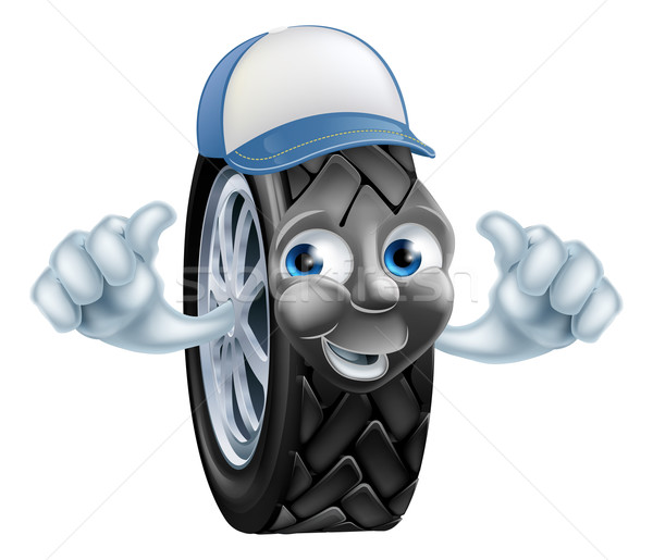 Mechanic cartoon tire giving thumbs up Stock photo © Krisdog