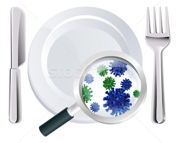 Stock photo: Microscopic bacteria cutlery concept