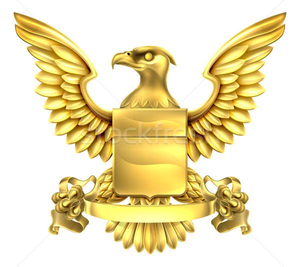 орел геральдика пальто оружия золото металл Сток-фото © Krisdog