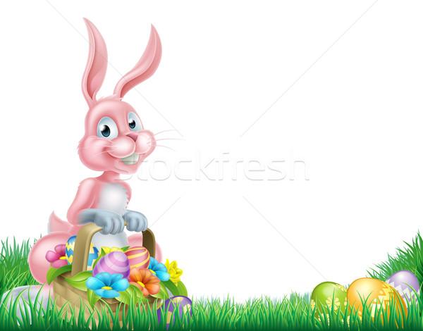 Stockfoto: Cartoon · roze · Easter · Bunny · ei · jacht · mand