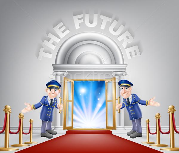 будущем красный ковер вход двери открытых дверей Сток-фото © Krisdog