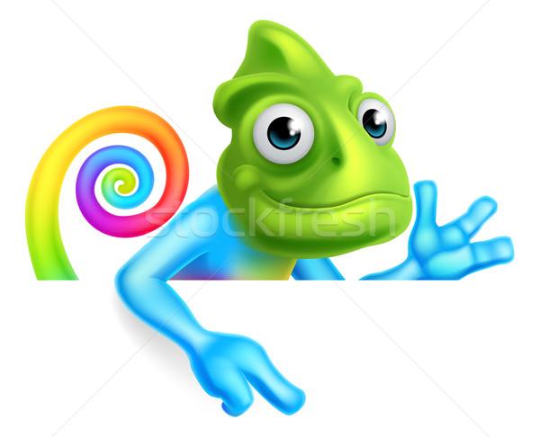 Regenboog cartoon kameleon wijzend hagedis karakter Stockfoto © Krisdog