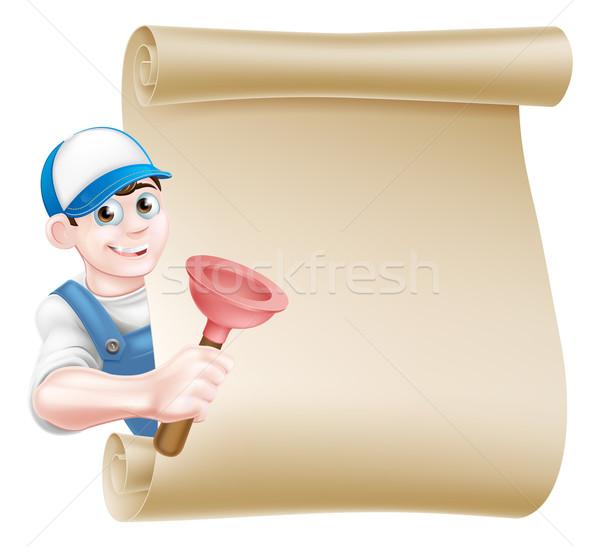 Cartoon Plunger Plumber Stock photo © Krisdog