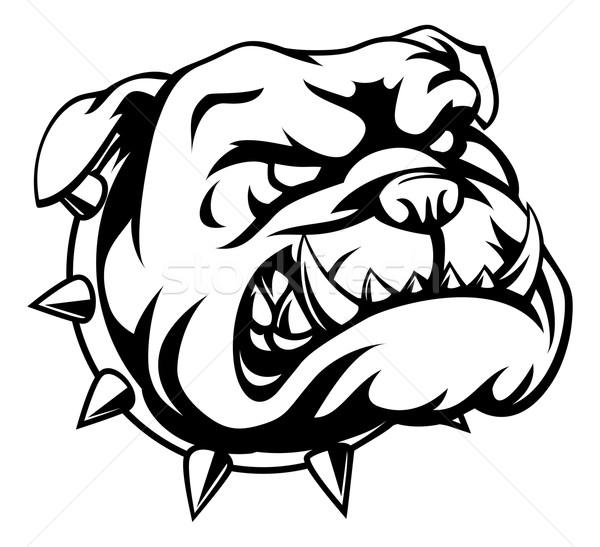 Сток-фото: жесткий · бульдог · глядя · Cartoon · собака · лице