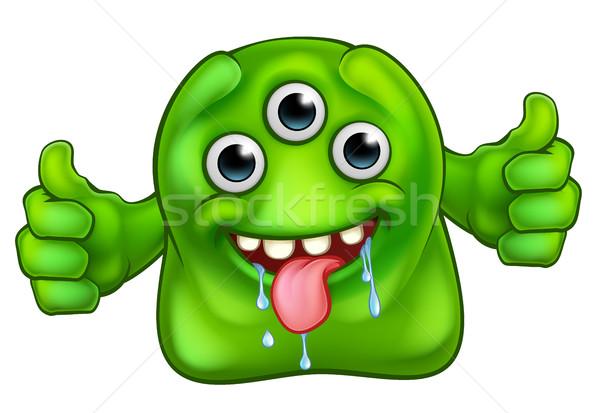 Verde bonitinho alienígena monstro desenho animado Foto stock © Krisdog