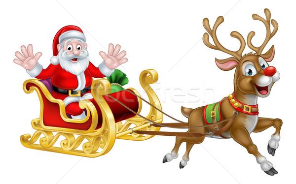 Christmas Cartoon Santa and Reindeer Sleigh Stock photo © Krisdog