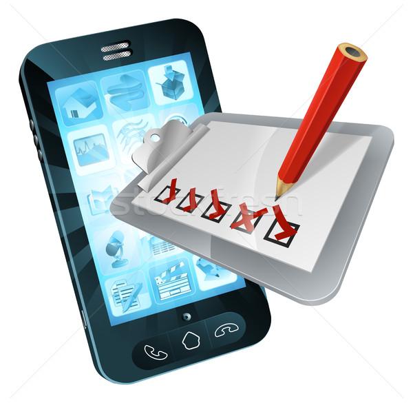 Mobile Phone Online Survey Clipboard Stock photo © Krisdog
