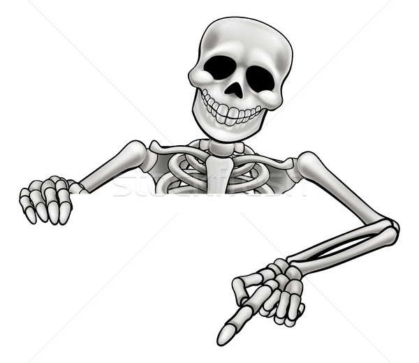 Cartoon Skeleton Pointing Sign Stock photo © Krisdog