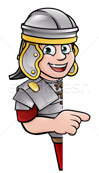 Cartoon Ancient Roman Soldier Pointing Stock photo © Krisdog