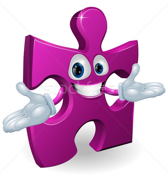 Fűrész karakter boldog mosolyog lila darab Stock fotó © Krisdog