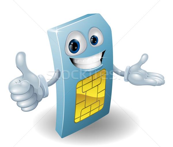 Cartoon telefonu komórkowego karty człowiek uśmiechnięty uśmiech Zdjęcia stock © Krisdog