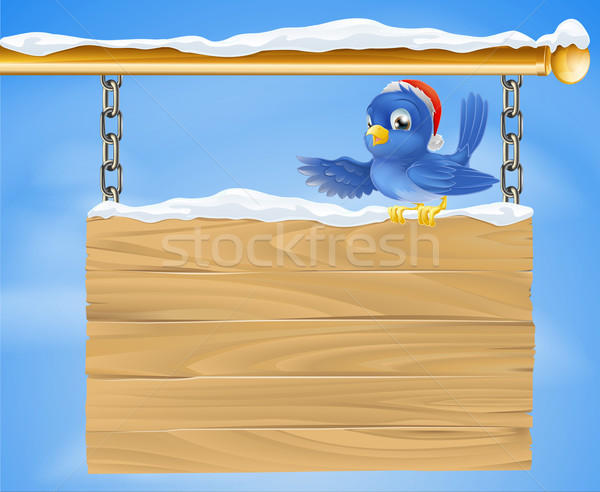 Santa hat bluebird snowy sign Stock photo © Krisdog