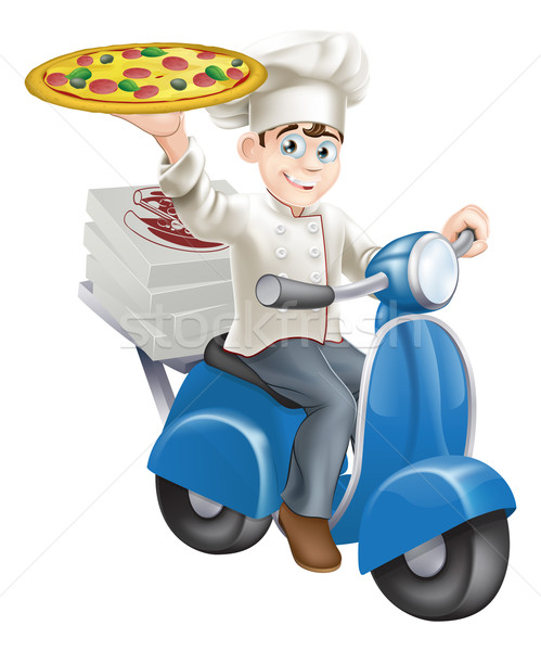Pizza chef levering man vak Blauw Stockfoto © Krisdog