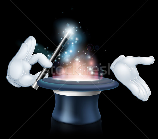 Stock photo: Magician wand and top hat trick