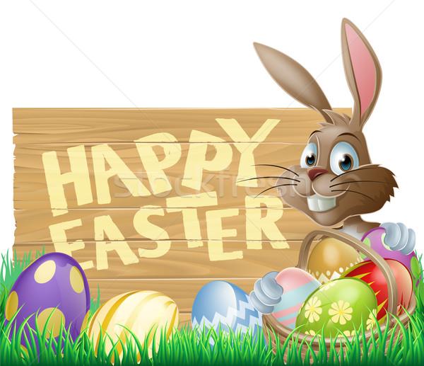 Happy Easter Sign Bunny Stock photo © Krisdog