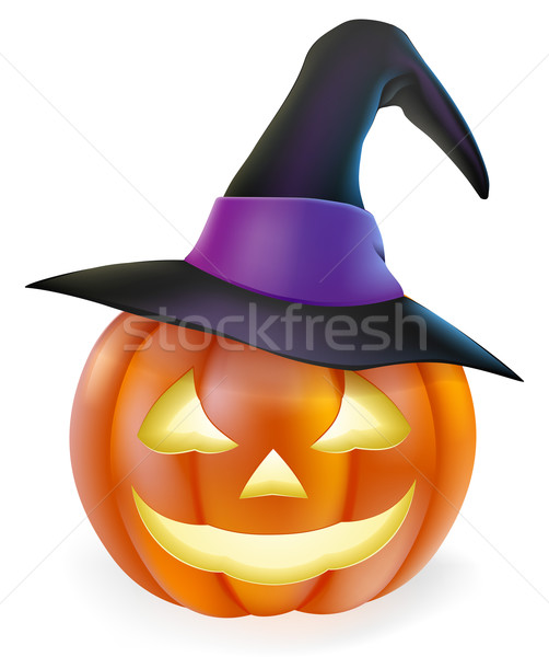 Witch hat Halloween pumpkin Stock photo © Krisdog