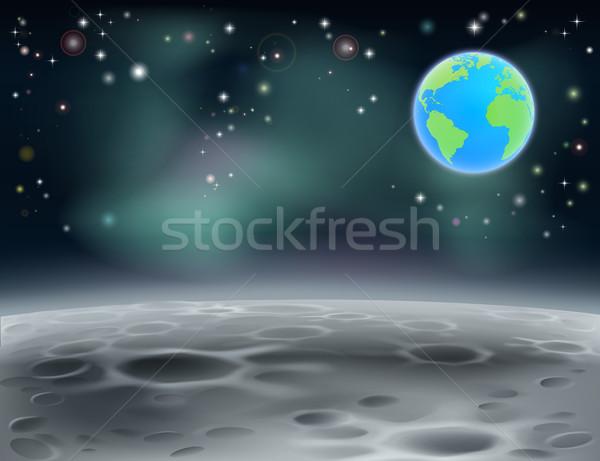 Lua espaço terra 2013 superfície paisagem Foto stock © Krisdog