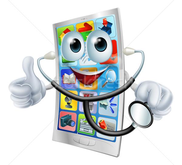 Stockfoto: Mobiele · telefoon · man · stethoscoop · gelukkig · cartoon