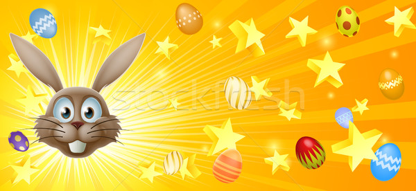Easter bunny and eggs banner Stock photo © Krisdog