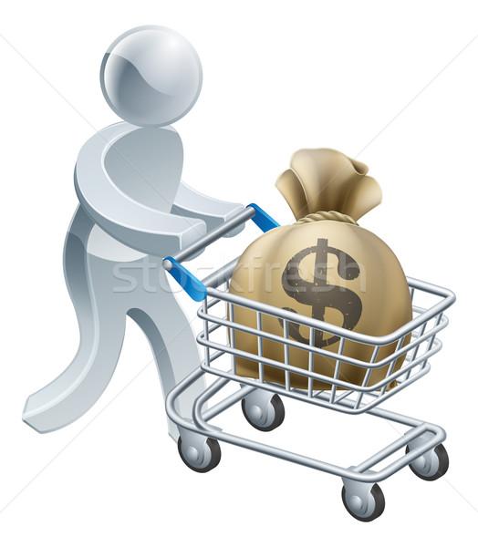 Person pushing trolley with money Stock photo © Krisdog
