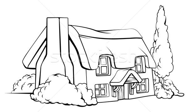 Fazenda casa casa de campo ilustração idílico tradicional Foto stock © Krisdog