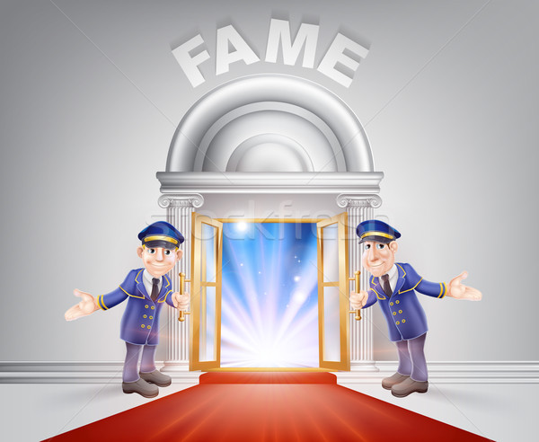 Stock photo: Red carpet door to Fame