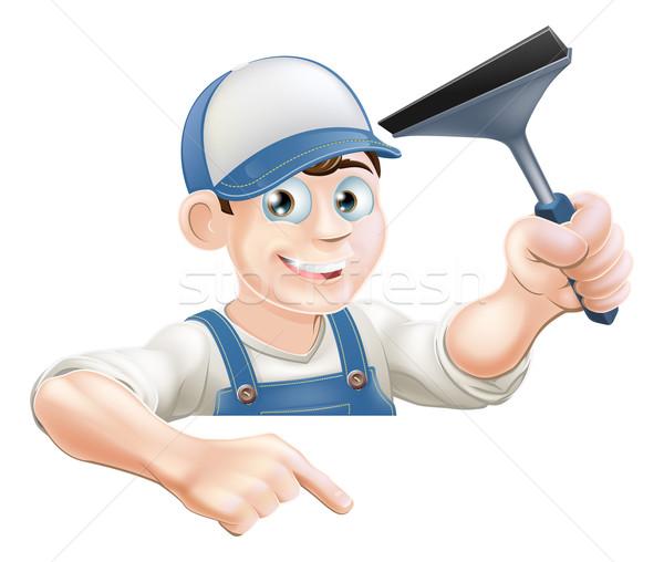 Indicação limpador de janelas desenho animado para baixo assinar Foto stock © Krisdog