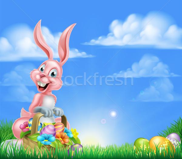 Cartoon Pink Easter Bunny Egg Hunt Stock photo © Krisdog