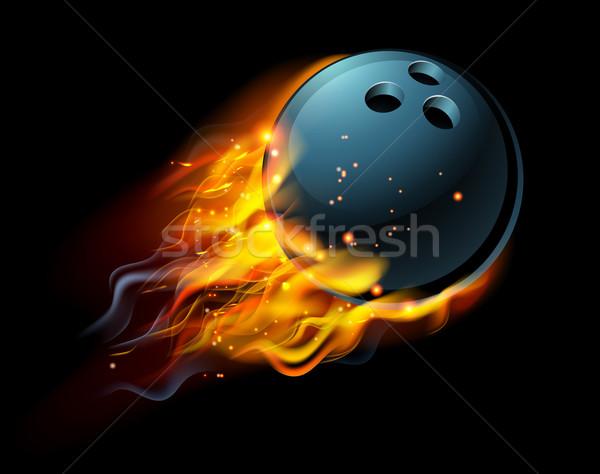 Yanan bowling topu yangın uçan hava spor Stok fotoğraf © Krisdog