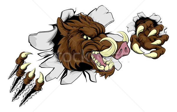 Mean Boar Warthog Razorback Mascot Stock photo © Krisdog