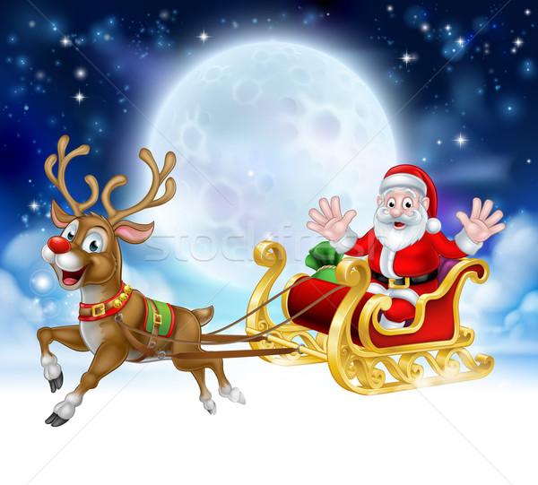 Cartoon Santa Reindeer Sleigh Christmas Scene Stock photo © Krisdog