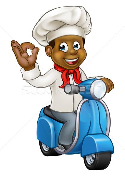 Foto stock: Cartoon · entrega · chef · negro · Baker · carácter