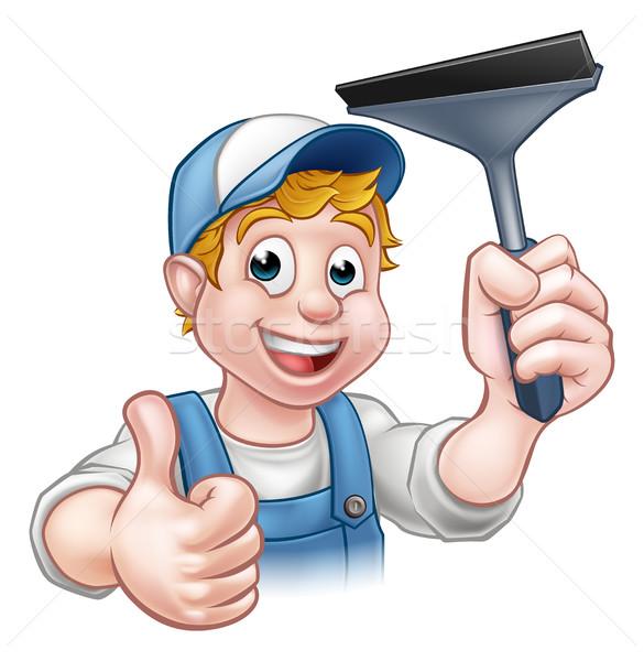 Limpador de janelas janela máquina de lavar limpador handyman Foto stock © Krisdog