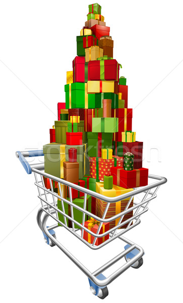 Stock photo: Shopping trolley cart with lots of gifts