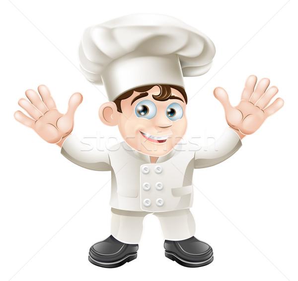 Aranyos szakács kabala karakter szakács sapka egyenruha Stock fotó © Krisdog
