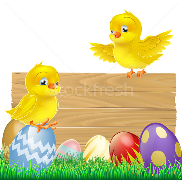 Isolated Easter Sign with Eggs and Chicks Stock photo © Krisdog
