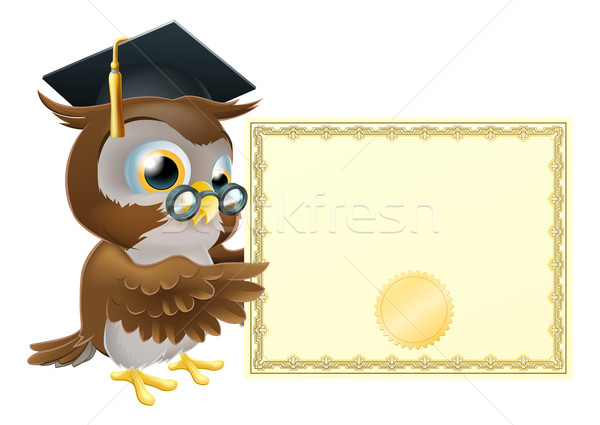 Chouette diplôme certificat illustration cute personnage Photo stock © Krisdog