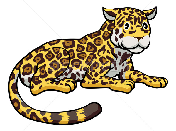 Cartoon Jaguar кошки иллюстрация счастливым Cute Сток-фото © Krisdog