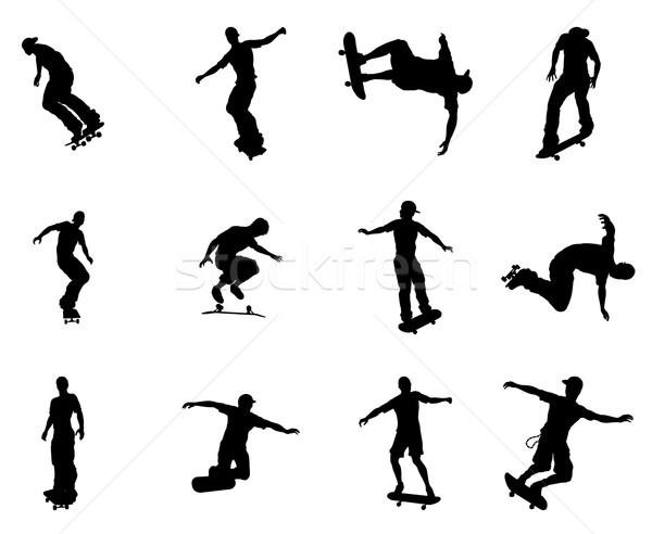 Silhouette outlines of skating skateboarders Stock photo © Krisdog