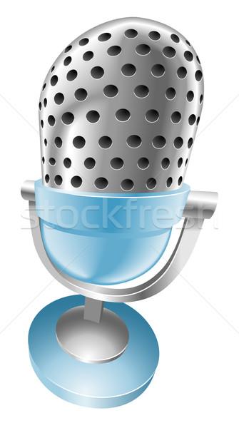 Illustration of shiny blue microphone Stock photo © Krisdog